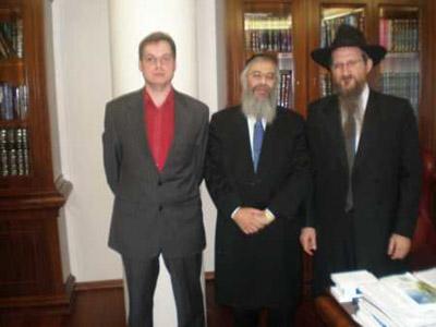 Встреча Берл Лазара и главы Евразийского Союза Молодежи Зарфуллина ноябрь 2008.