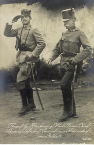 Эрцегерцог Карл и генерал-майор Конрад фон Гетцендорф, которого Мультатули досрочно 'повысил' в звании. 1914г.
